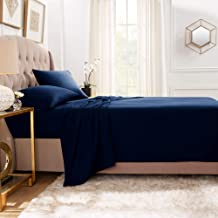 (Full, Navy Blue) - Premium Flat Sheet - Luxurious & Soft Full Size Linen Flat Navy Blue Sheets - Hotel Quality Brushed Mi...