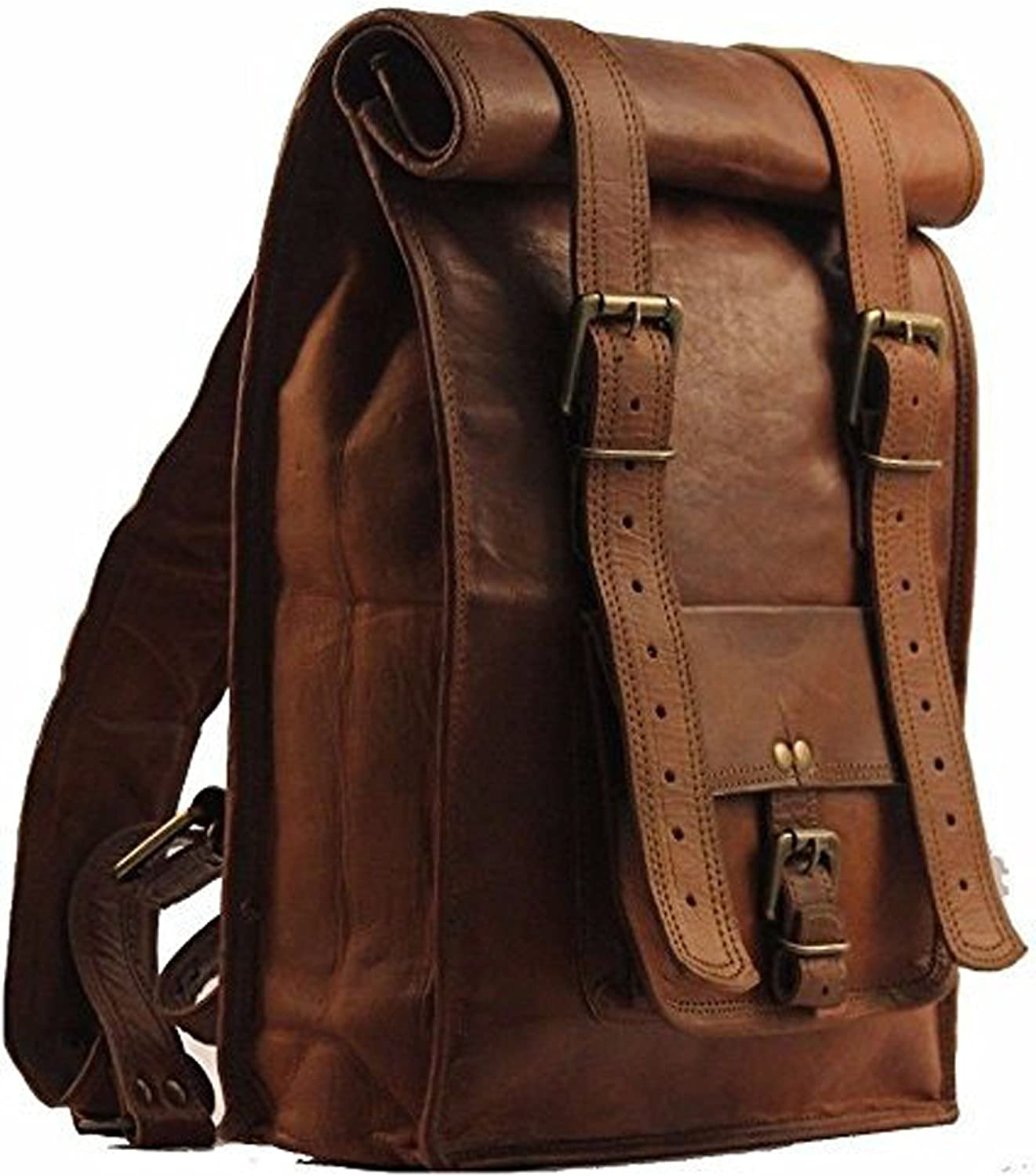 Desert Town Unisex Genuine Leather 31 LTR. Vintage Brown Traveling Backpack 14X23 (BP118)