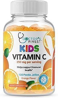 Doctors Finest Vitamin C Gummies for Kids, Vegan, GMO Free & Gluten Free, Great Tasting Orange Flavor Pectin Chews, Kids D...