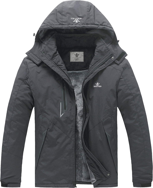 WenVen Men's Winter Warm Windproof Detachable Hood Thick Waterproof Skiing Jacket
