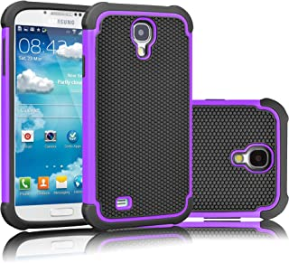 Tekcoo for Galaxy S4 Case, [Tmajor Series] [Purple/Black] Shock Absorbing Hybrid Rubber Plastic Impact Defender Rugged Slim Hard Case Cover Shell for Samsung Galaxy S4 S IV I9500 GS4 All Carriers