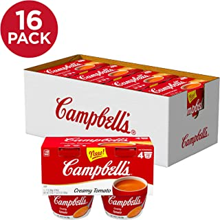 Campbell's Creamy Tomato Soup, Perfect Lunch Snack, 7 oz Microwavable Cup, 4 Count (Pack of 4)