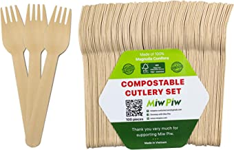 Disposable Wooden Forks, Spoons, Knives Set - Alternative to Plastic Cutlery - Biodegradable Replacements (100 Forks)