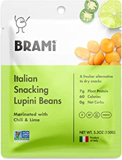 BRAMI Lupini Beans Snack, Chili & Lime   7g Plant Protein, 0g Net Carbs   Vegan, Vegetarian, Keto, Mediterranean Diet   5.3 Ounce (4 Count)