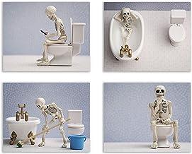 Summit Designs Skeleton Bathroom Prints – Funny Hipster Skull and Bones Wall Art..