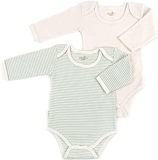 Tadpoles Organic Long Sleeve Pinstripe Bodysuits - Set of 2, Sage