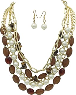 5 Rows Layered Bead Chain & Imitation Pearl Statement Necklace & Earrings Set - Assorted Colors