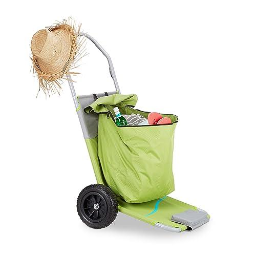 Relaxdays  10023466 Transat à roulettes pliant convertible en chariot plage piscine sac rangement dossier réglable 5 niveaux, vert