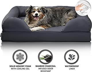 Zermätte Orthopedic Dog Bed – Cooling Gel Memory Foam Pillow Mat with Washable Removable Cover, Waterproof Liner Insert, Charcoal Infused Deodorizing Pad & Elevated Design