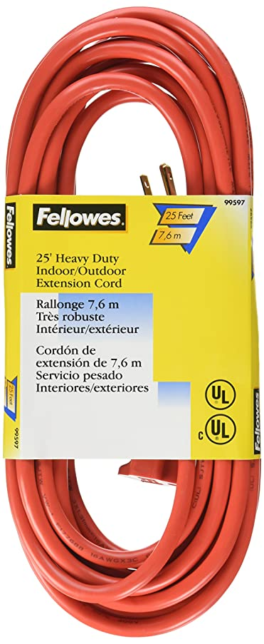Fellowes 1-Outlet 3-Prong Indoor/Outdoor Heavy Duty Extension Cord, 25-Feet (99597)