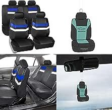 FH Group PU006115 Varsity Spirit PU Leather Seat Covers, Airbag & Split Ready, Blue/Black Color