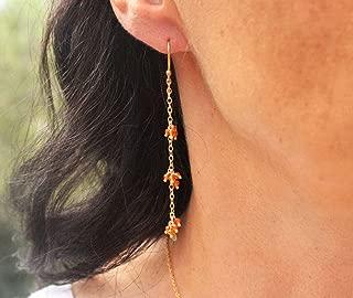 14k Gold Carnelian Earrings. Long Gold Earrings.