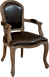 Best Selling Newport Leather Weathered Wood Arm Chair