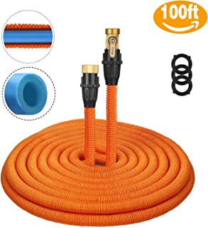 Tacklife 100ft Garden Hose, Innovative 2018 Leakproof Patent Connector Lightweight Expandable Water Hose, Durable Double Latex Core, Solid Brass Fittings, Free Net Bag, 3 Extra Rubber Gaskets - Orange