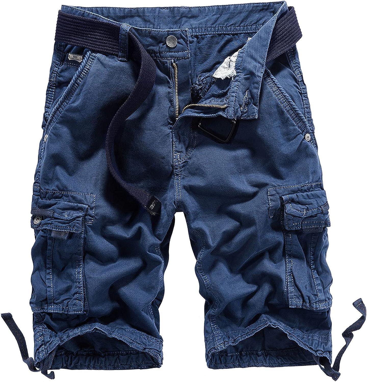 B dressy Men Summer Casual Loose Camouflage Cargo Shorts Multi-Pocket 100% Cotton Street Military Knee-Length Beach-Blue-34