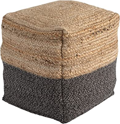 Signature Design by Ashley Sweed Valley Farmhouse Pouf 17.5 x 20.25, Light Brown and Black