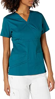 Cherokee Women's 1841 Mock Wrap Zig Zag Scrub Top