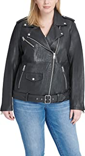 1f8640ec2a8 Levi s Women s Oversized Faux Leather Belted Motorcycle Jacket (Standard   Plus  Sizes)