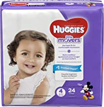 HUGGIES LITTLE MOVERS Diapers, Size 4 (22-37 lb.), 24 Ct., JUMBO PACK (Packaging May Vary), Baby Diapers for Active Babies