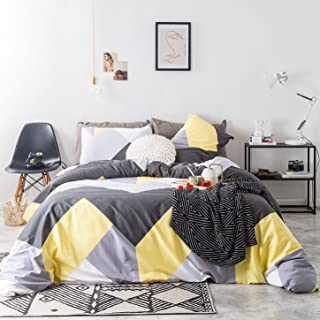 SUSYBAO 3 Piece Duvet Cover Set 100% Natural Cotton Queen Size Grey and Yellow Geometric Bedding Set with Zipper Ties 1 Silver Chevron Duvet Cover 2 Pillowcases Hotel Quality Soft Luxurious Durable