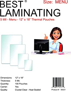 Best Laminating® - 5 Mil Clear Menu Size Thermal Laminating Pouches - 11.5 X 18 - Qty 100