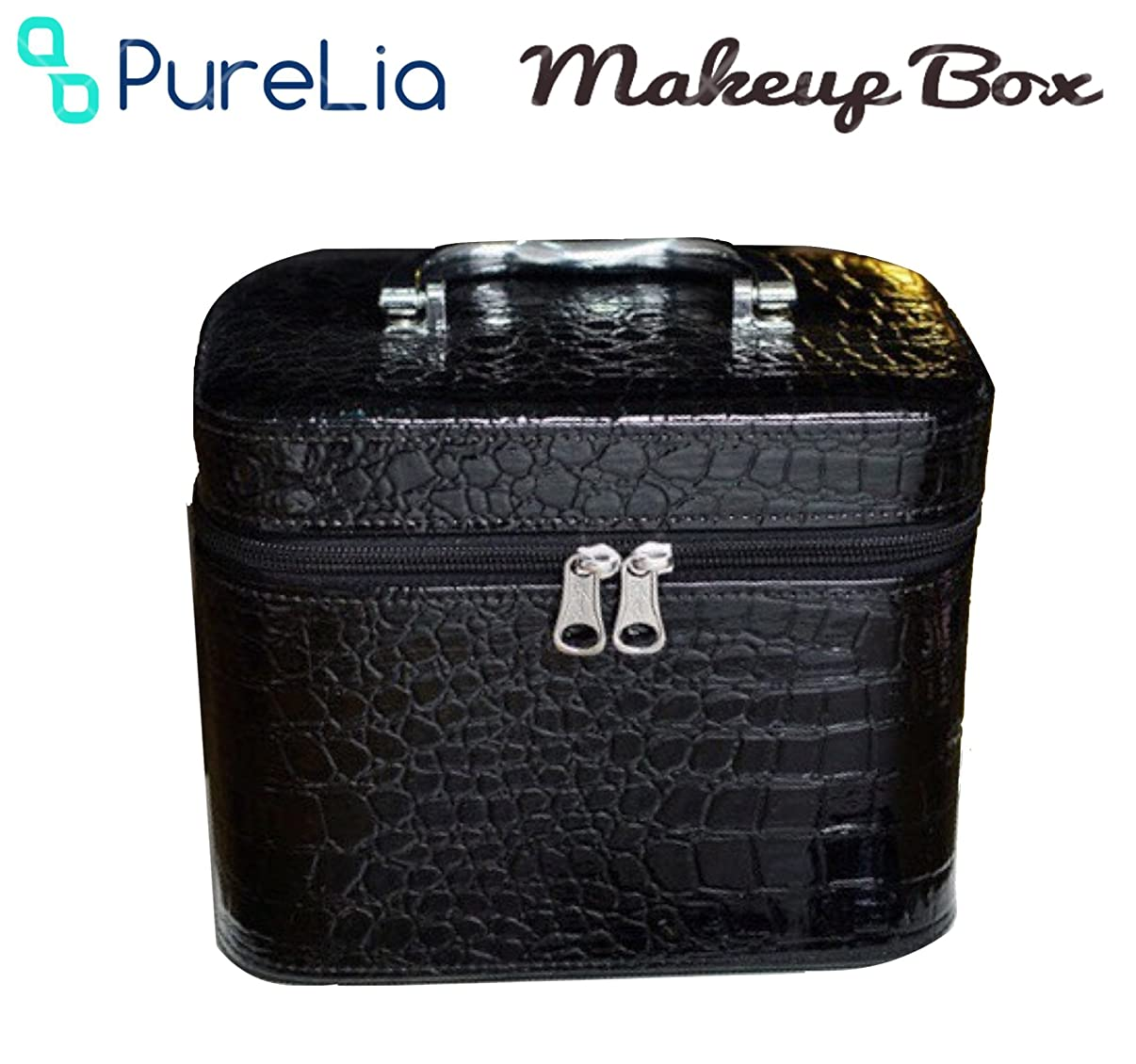ブリークスナップ光沢のあるPureLia ピュアリア メイクボックス 鏡付き レザー クロコ柄 高級 小物 コスメ 化粧 収納 ボックス (ブラック)