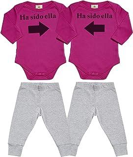 SR - Ha Sido Ella & Ha Sido Ella - Conjunto Gemelo - Regalo para bebé - Azul Body para bebés & Negro Pantalones para bebé - Ropa Conjuntos para bebé