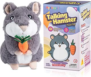 Ayeboovi Toys for 2 Year Old Bigger Talking Hamster Repeats What You Say Educational Talking Toy Repeating Hamster Toy Gift for Kids 1 2 3 4 5 Year Old … (Grey)