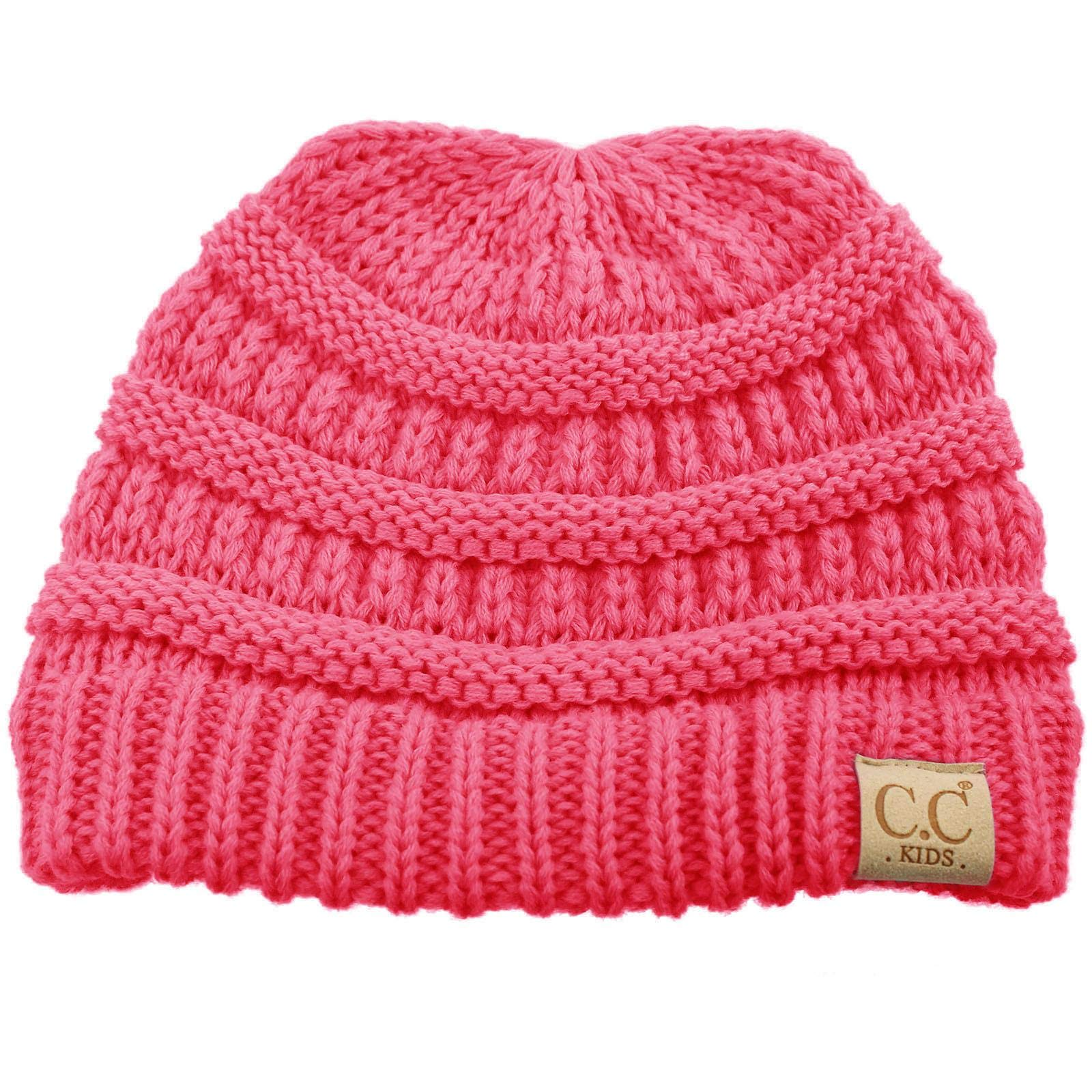 Kids Ages 2-7 Warm Chunky Thick Stretchy Knit Slouch Beanie Skull Hat New CD Pink