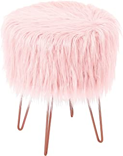 BirdRock Home Pink Faux Fur Vanity Stool Chair – Soft...