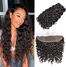 MSGEM Hair Brazilian Water Wave Lace Frontal Free Part (20 22 24+18 Frontal) 100% Unprocessed Brazilian Wet And Wavy Hair Lace Frontal with Baby Hair Natural Black Color