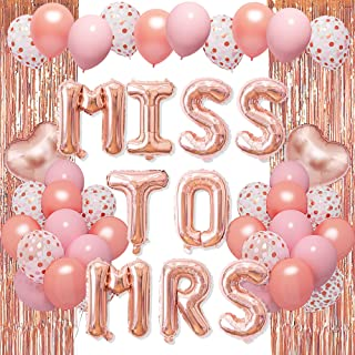 Rose Gold Bachelorette Party Decorations Supplies - Miss To Mrs Heart Foil Balloons Pink Rose Gold Balloons Metallic Fring...