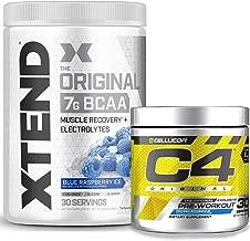 Cellucor Pre Workout & BCAA Bundle, C4 Original Pre Workout Powder, ICY Blue Razz, 30 Servings + XTEND BCAA Powder, Blue Raspberry, 30 Servings
