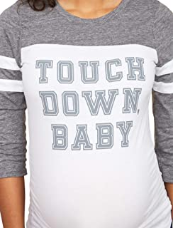 Women's Maternity 3/4 Sleeve Side Ruched Football Graphic Tee Shirt