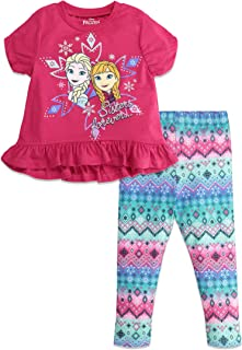 Disney Frozen Girls Peplum Top and Leggings Set
