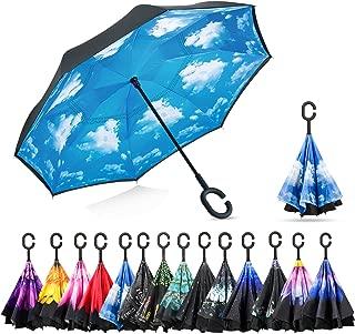 Inverted Umbrella C-Shaped Handle Inside Out Windproof Umbrella Upside Down Reverse Umbrella Double Layer Travel Umbrella