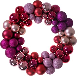 Clever Creations Christmas Ornament Wreath Red, Pink and Purple | Festive Holiday Décor | Modern Theme | Lightweight Shatter Resistant | Indoor or Outdoor | Countless Uses | 13.5