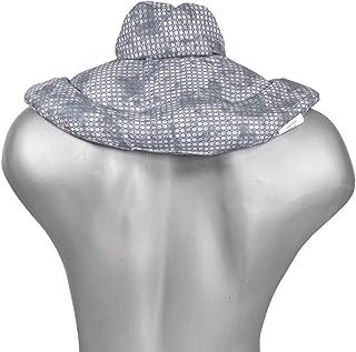 Cojín cervical de calor con cuello. Used look gris azulado. Almohada térmica con pepitas de uva. Confortable saco térmico de semillas para la nuca