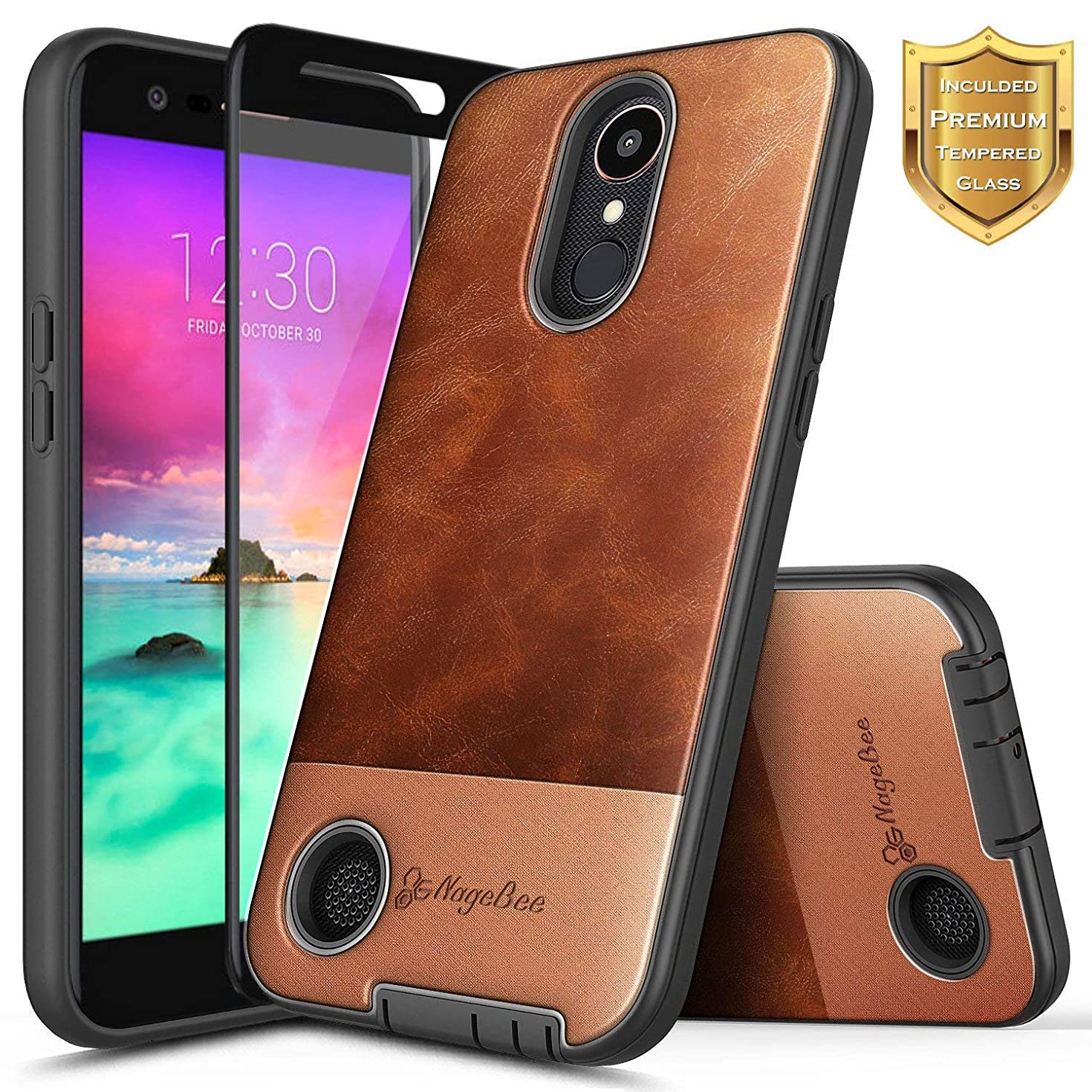 LG K20 Plus Case, LG K20 V (Verizon) /V5 /K10 2017 /Harmony/LG Grace LTE w/[Tempered Glass Screen Protector], NageBee Premium Cowhide Leather Armor Defender Dual Layer Shock Proof Hybrid Case -Brown