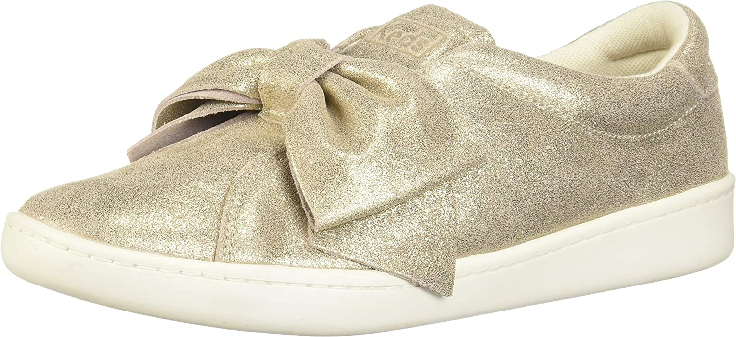 Keds Womens Ace Bow Glitter Suede Sneakers
