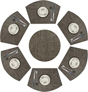 SHACOS Round Table Placemats Set of 7 Woven Vinyl Wedge Placemats with Centerpiece Heat Resistant Wedge Table Mats (7, Black Coffee)