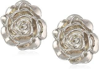 Women's Silver-Tone Flower Button Clip Earrings, Silver, One Size