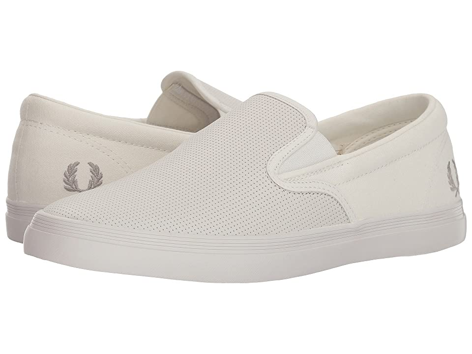 Fred Perry Underspin Slip-On Checkerboard Leather/Canvas (Snow White/Falcon) Men