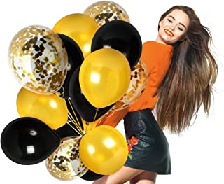 Black and Gold Balloons Gold Confetti Balloon Pack of 44 Party Kit for Birthday Mommy to Bee Baby Shower Birthday Wedding Graduation Decorations