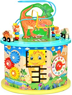 Victostar Activity Cube, 11 in 1 Dinosaur Bead Maze Multipurpose Educational Toy Wood Shape Color Sorter for Kids