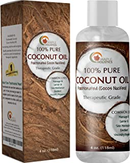 Fractionated Coconut Oil for Skin Therapeutic Carrier Oil Moisturizer for Face and Body Natural Anti Aging Eye Cream Aromatherapy Massage Oil and Anti Frizz Leave In Conditioner for Dry Damaged Hair