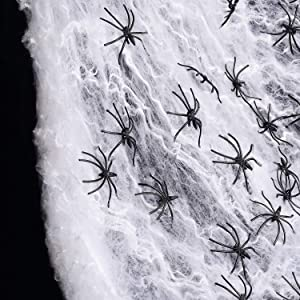 1000sqft Fake Spider Web Halloween Decorations Indoor/Outdoor, Stretchy Spider Webbing with 60pcs Spiders for Halloween Party Props