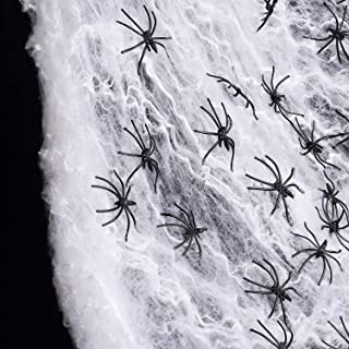 Joyseller 90sqm Fake Spider Web Halloween Decorations (60 Extra Spiders) for Indoor and Outdoor