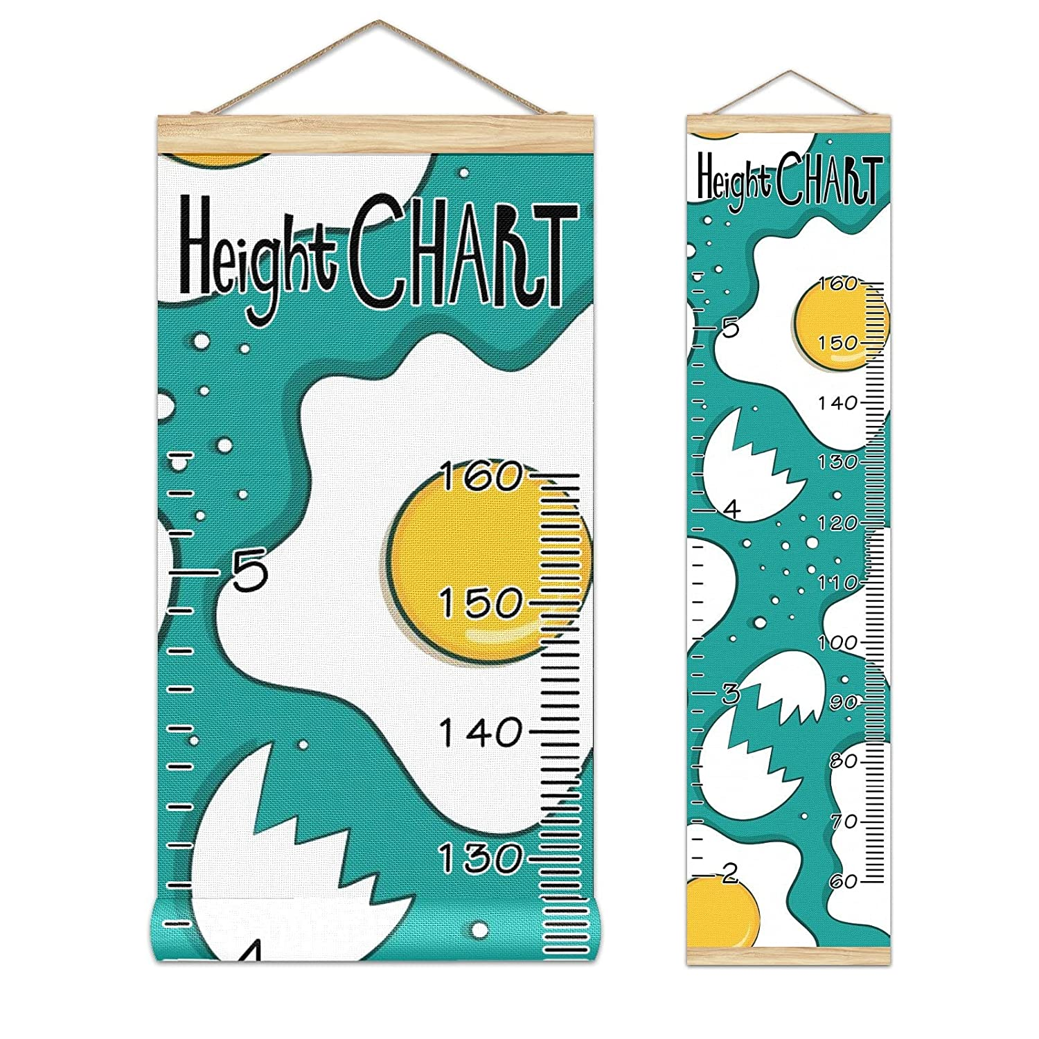 Kids Growth Chart Fried Eggs Pattern Wood Max 56% OFF Free shipping / New Background Frame Blue