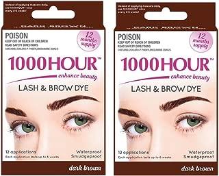 Combo Pack! 1000 Hour Eyelash & Brow Dye / Tint Kit Permanent Mascara (Dark Brown & Dark Brown)